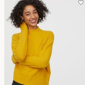 NEW H&M Stand Up Collar Mustard Yellow Top